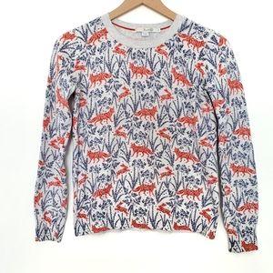 Boden Fox and Rabbit Animal Print Sweater SZ Small